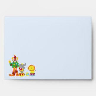 Cartoon Circus Clown and Animals Envelopes