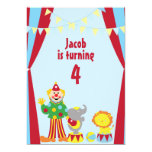 "Cartoon Circus Clown and Animals Party Invitation 5"" X 7"" Invitation Card"