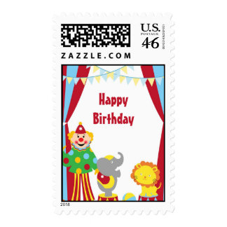 Cartoon Circus Clown and Animals Postage