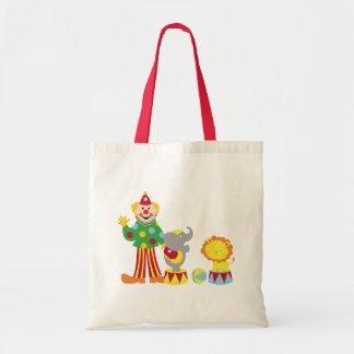 Cartoon Circus Clown and Animals Tote Bag