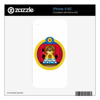 Cartoon Circus Lion on Podium iPhone 4S Skin