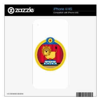Cartoon Circus Lion on Podium Skin For iPhone 4