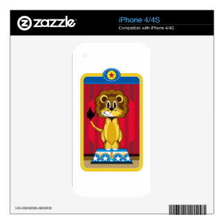 Cartoon Circus Lion on Podium Skin For The iPhone 4