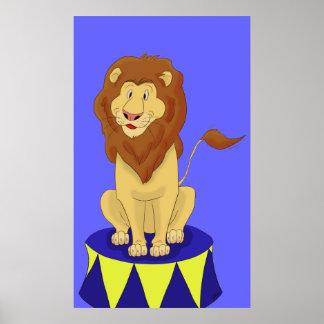 Cartoon Circus Lion Poster Print