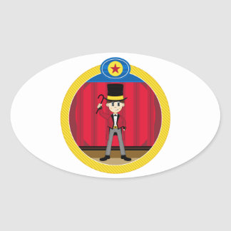 Cartoon Circus Ringmaster Oval Sticker
