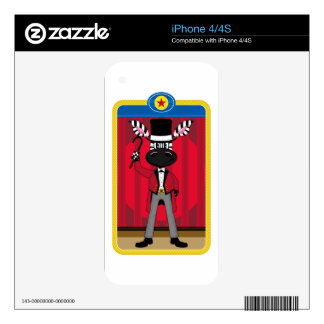 Cartoon Circus Ringmaster Zebra iPhone 4 Decals