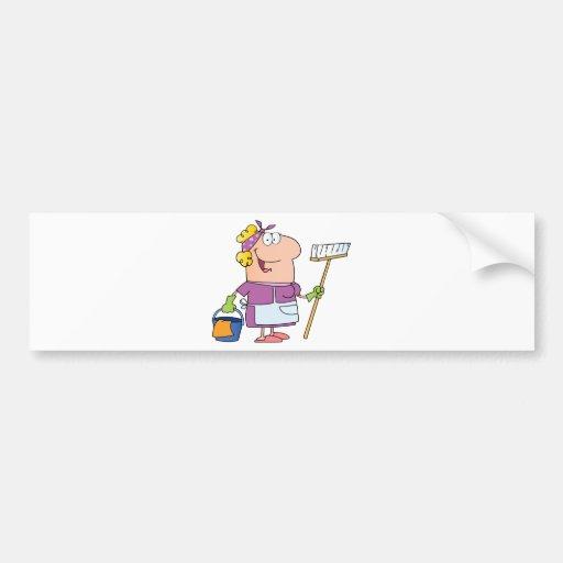 Cartoon Cleaning Lady Bumper Sticker