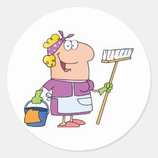 Cartoon Cleaning Lady Round Sticker
