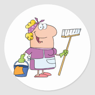 Cartoon Cleaning Lady Round Stickers
