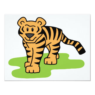 Cartoon Clip Art Bengal Tiger Big Cat with Stripes Card