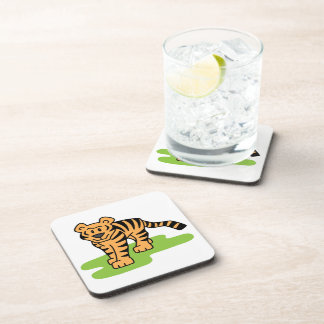 Cartoon Clip Art Bengal Tiger Big Cat with Stripes Drink Coaster