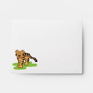 Cartoon Clip Art Bengal Tiger Big Cat with Stripes Envelope