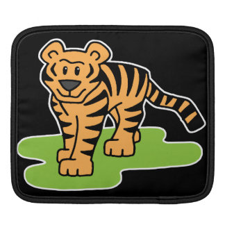 Cartoon Clip Art Bengal Tiger Big Cat with Stripes Sleeves For iPads