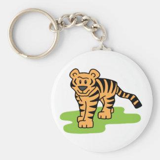Cartoon Clip Art Bengal Tiger Big Cat with Stripes Keychain