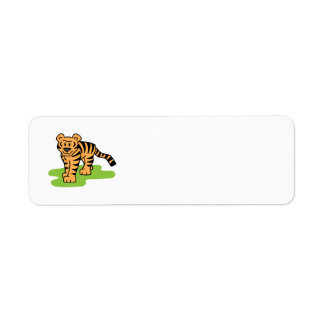 Cartoon Clip Art Bengal Tiger Big Cat with Stripes Custom Return Address Label