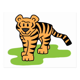 Cartoon Clip Art Bengal Tiger Big Cat with Stripes Postcard