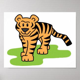 Cartoon Clip Art Bengal Tiger Big Cat with Stripes Print