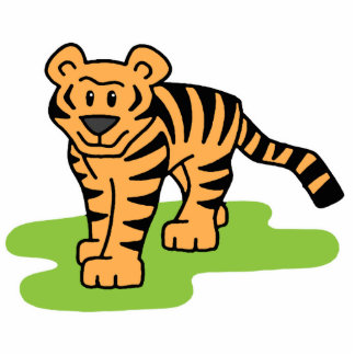 Cartoon Clip Art Bengal Tiger Big Cat with Stripes Statuette
