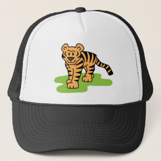Cartoon Clip Art Bengal Tiger Big Cat with Stripes Trucker Hat