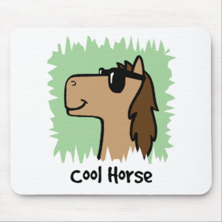 Cartoon Clip Art Cool Horse Wearing Sunglasses Mouse Pad
