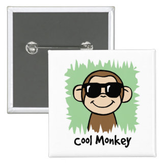 Cartoon Clip Art Cool Monkey with Sunglasses 2 Inch Square Button