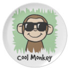 Cartoon Clip Art Cool Monkey with Sunglasses Dinner Plate
