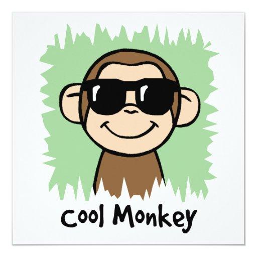 Cartoon Clip Art Cool Monkey with Sunglasses 5.25x5.25 Square Paper Invitation Card