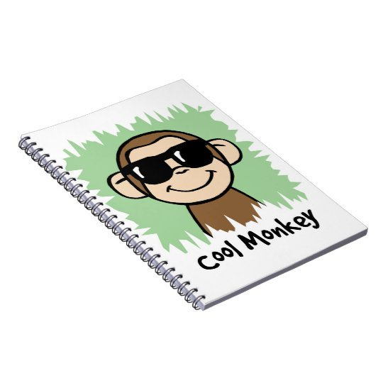 Cartoon Clip Art Cool Monkey with Sunglasses Notebook