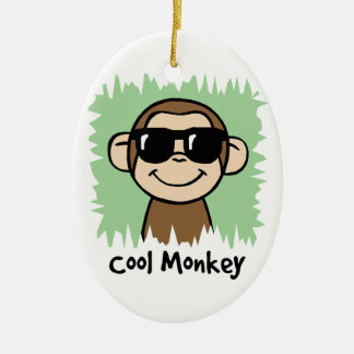 Cartoon Clip Art Cool Monkey with Sunglasses Christmas Ornament