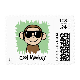 Cartoon Clip Art Cool Monkey with Sunglasses Postage