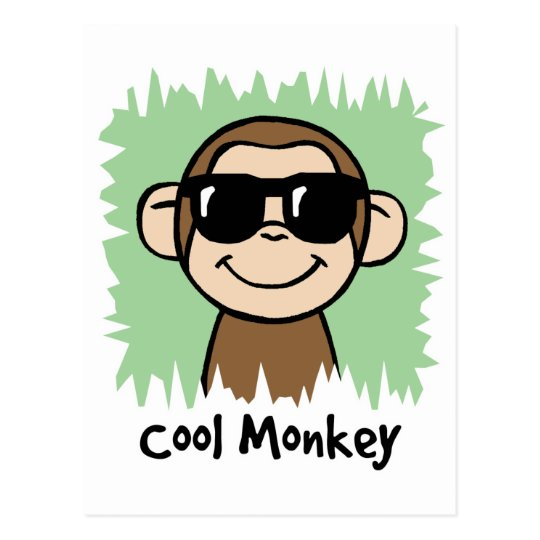 Cartoon Clip Art Cool Monkey with Sunglasses Postcard