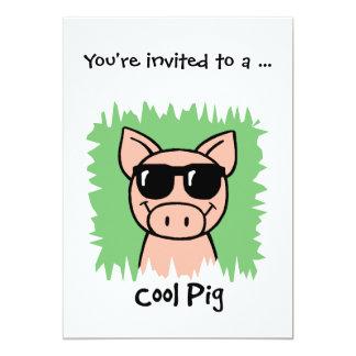 Cartoon Clip Art Cool Pig Sunglasses Boy Birthday 5x7 Paper Invitation Card