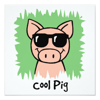 Cartoon Clip Art Cool Pig with Sunglasses Invitation