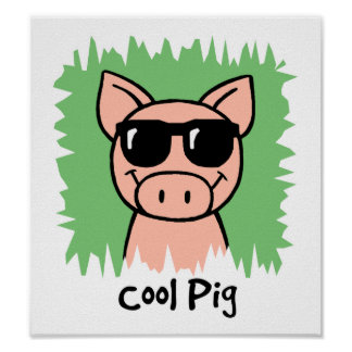 Cartoon Clip Art Cool Pig with Sunglasses Poster