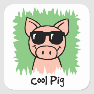 Cartoon Clip Art Cool Pig with Sunglasses Square Sticker