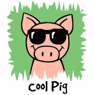 Cartoon Clip Art Cool Pig with Sunglasses Statuette