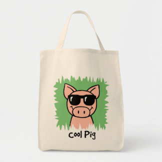 Cartoon Clip Art Cool Pig with Sunglasses Tote Bag