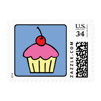 Cartoon Clip Art Cupcake Frosting Cherry Dessert Stamp