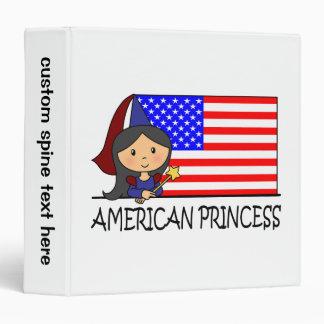 Cartoon Clip Art Cute American Princess Flag 3 Ring Binder
