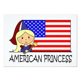 Cartoon Clip Art Cute American Princess Flag 5x7 Paper Invitation Card