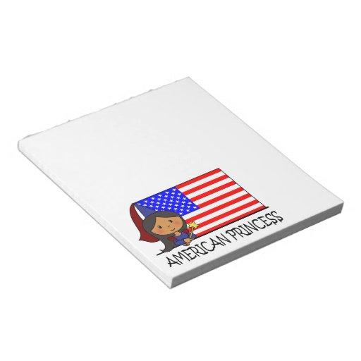 Cartoon Clip Art Cute American Princess Flag Scratch Pad