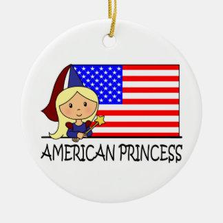 Cartoon Clip Art Cute American Princess Flag Christmas Tree Ornament