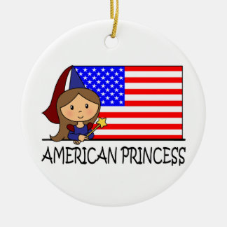 Cartoon Clip Art Cute American Princess Flag Christmas Tree Ornaments
