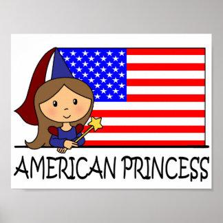 Cartoon Clip Art Cute American Princess Flag Poster