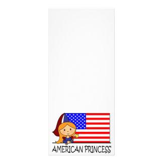 Cartoon Clip Art Cute American Princess Flag Full Color Rack Card