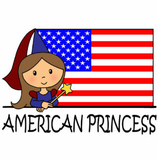 Cartoon Clip Art Cute American Princess Flag Statuette