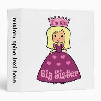 Cartoon Clip Art Cute Big Sister Princess Hearts 3 Ring Binders