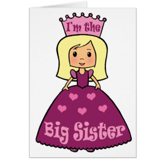 Cartoon Clip Art Cute Big Sister Princess Hearts Card