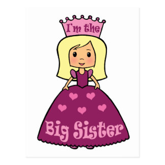 Cartoon Clip Art Cute Big Sister Princess Hearts Postcard