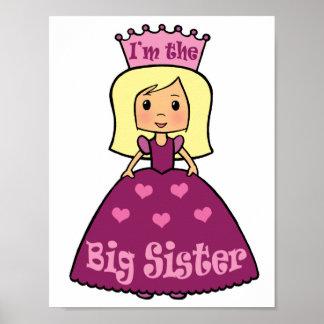 Cartoon Clip Art Cute Big Sister Princess Hearts Poster